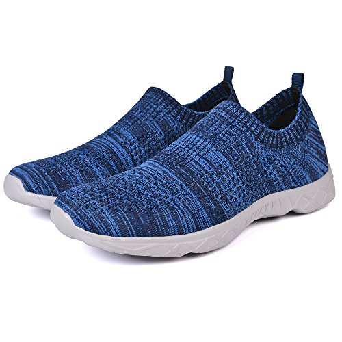 Mxson Frauen Slip On Sneaker Mesh Casual Sport Walking Strand Aqua Schwimmbad Wasser Schuhe Streifen blau