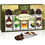 Tea Forté WORLD OF TEAS Single Steeps Loose Leaf Tea Sampler, 15 Single Serve Pouches - Green Tea, Herbal Tea, Black Tea
