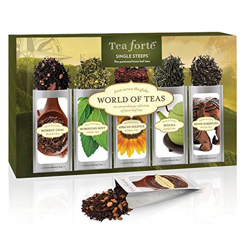Tea Forté WORLD OF TEAS Single Steeps Loose Leaf Tea Sampler, 15 Single Serve Pouches - Green Tea, Herbal Tea, Black Tea, Chai Tea