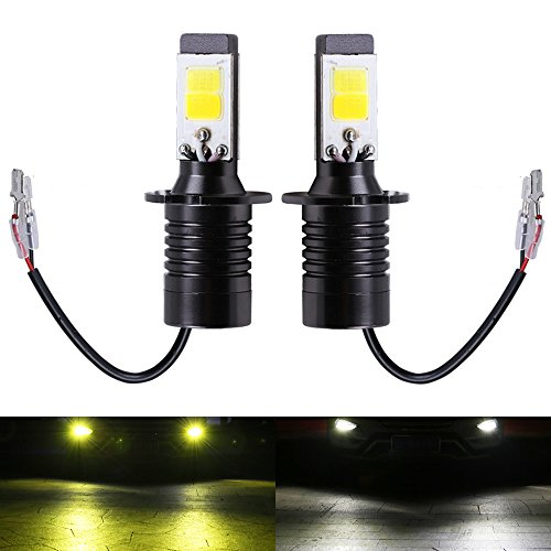 H3 Fog LED Light Bulbs Amber Yellow 3000K White 6000K Dual Color for Trucks Cars Lamps DRL Daytime Running Lights Kit Replacement Bulb 12V 30W 2800LM Super Bright COB Chips 1 Year Warranty【1797】