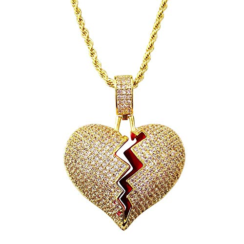 HH Bling Empire Unisex Bling Iced Out Cubic Zirconia Diamond Broken Heart Pendant Chain Necklace 24 Inch (Brass Gold & Rope - Zirconia Rope Cubic