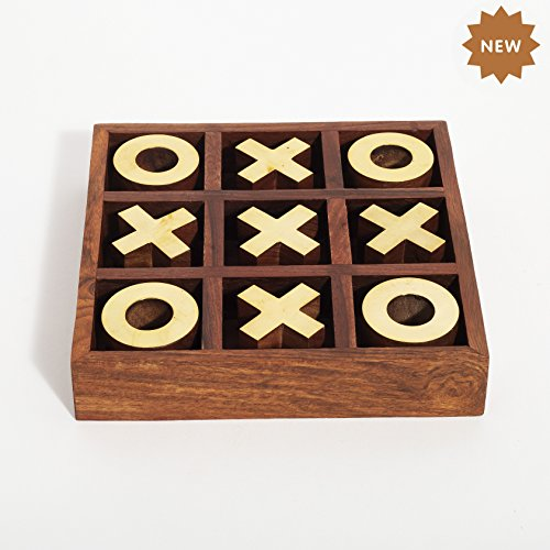 (Rusticity Wood and Brass Tic Tac Toe Game | Handmade | (6.5x6.5 in))