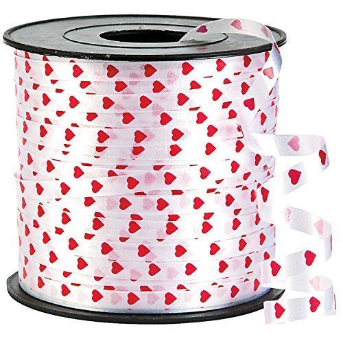 Heart Valentines Curling Gift Ribbon - 100 Yard | Valentines Day Decorations for Home, Outdoor, Office, Window, Classroom | Perfect for Balloons, Gift Wrap, Birthday Party Supplies, Crafts - Ribbon Heart