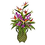Silk-Flowers-Bird-of-Paradise-Orchid-and-Fern-Arrangement-with-Metal-Planter-Artificial-Flowers