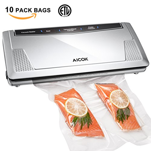Aicok Vacuum Sealer Machine Automatic Vacuum Air Sealing System, Food Sealer Vacuum ( Pulse Vacuum ) Function for Dry or Moist food and Sous Vide, 10 (Vacuum Package Machine)