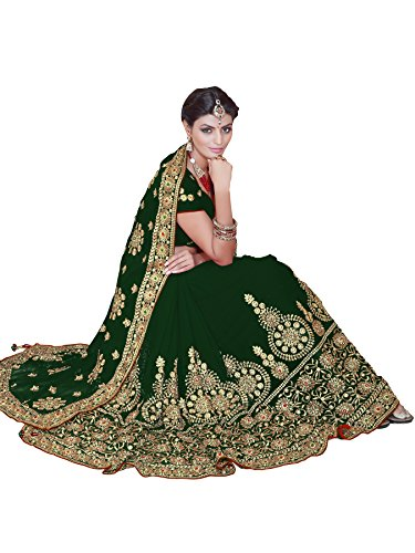Women's Indian Bollywood Sari Faux Georgette Bridal Wedding Saree Mirchi Fashion Partywear Dress (4085_Green)