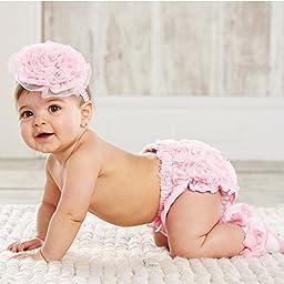 Mud Pie Baby-girls Newborn Chiffon Rosette Bloomer, Pink, 0-6 Months