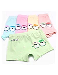 2-7 Years Old Girls Organic Cotton Underwear Cartoon Duck Boyshort Panties 5 Pairs