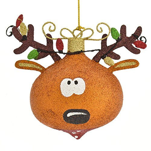 Reindeer with Christmas Lights in Antlers Glitter Hanging Tree Ornament