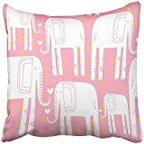 Throw Pillow Cover Square 18x18 Inches Colorful Adorable Hand Drawn with Elephant Africa Animal Big Cartoon Character Cheerful Childish Polyester Decor Hidden Zipper Print On Pillowcases