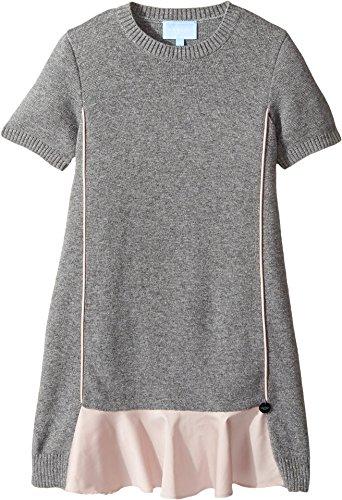 Angora Knit Dress - Lanvin Kids Girl's Short Sleeve Knit Dress With Contrast Ruffles On Front (Little Kids/Big Kids) Grey/Pink 8