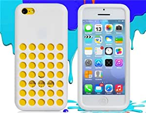 Cut-out Hole Silicone Case for iPhone 5C (White)