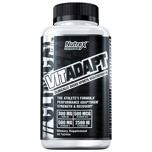 Nutrex Research Vitadapt, Clinically Dosed Sport Multivitamin, Chelated Minerals, KSM-66 Ashwagandha, Schisandra Extract, Rhodiola Rosea Root Extract , 90 Tablets