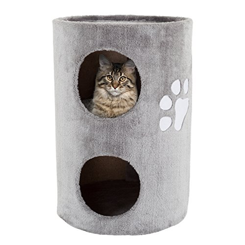 PETMAKER Cat Condo 2 Story Double Hole with Scratching Surface, 14' x 20.5', Gray