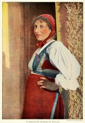 [1923 Print Desulo Sardinian Woman Costume Clothes Monti de Gennargentu Italy - Original Color Print] (Costume Di Desulo)