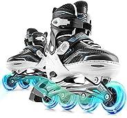Marcent Inline Skates for Kids, Adjustable Blades Roller Skates with Light up Wheels for Girls Boys, Indoor an