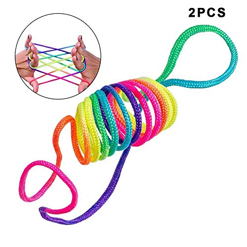 2/5/10PACK Rainbow Coloured Thread Toy Rope Finger,String Games Cats Cradle Rainbow Toy Fingertwist for Girls Boys Educational Games for Travel Article-Rainbow Rope