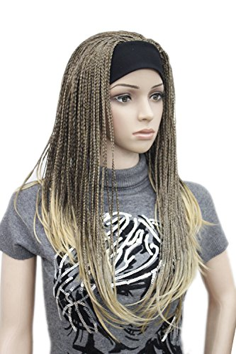 (Long Straight hand made braids 3/4 half wig headband Natural style Hivision wig (Brown & Butterscotch Golden Mix))