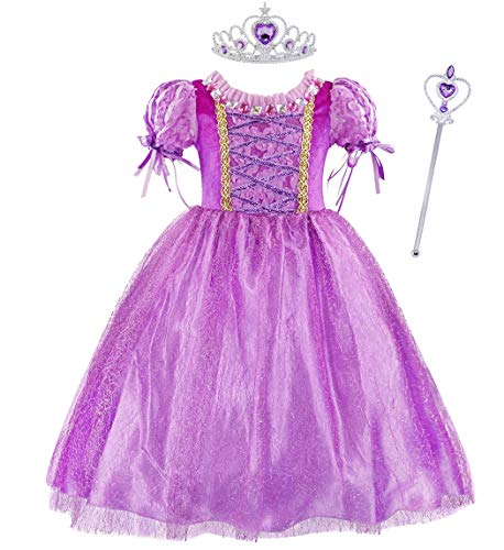 Jurebecia Tangled Halloween Cosplay Costume Princess Rapunzel Dress Ball Gown Outfit Suit Size 4T Purple]()