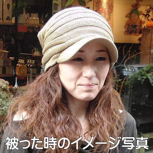 【ノーブランド品】ニットキャスケットプリーツ 秋冬 (カーキ&アイボリー)