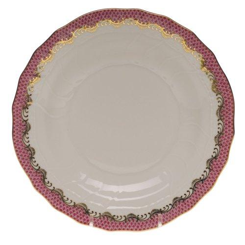 - Herend Fish Scale Raspberry Porcelain Dessert Plate