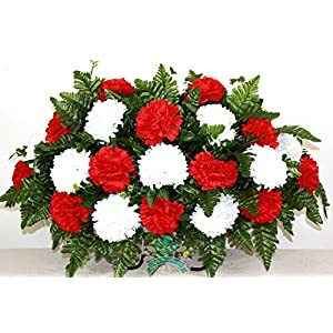 XL Red And White Cemetery Saddle Flower Arrangement 55