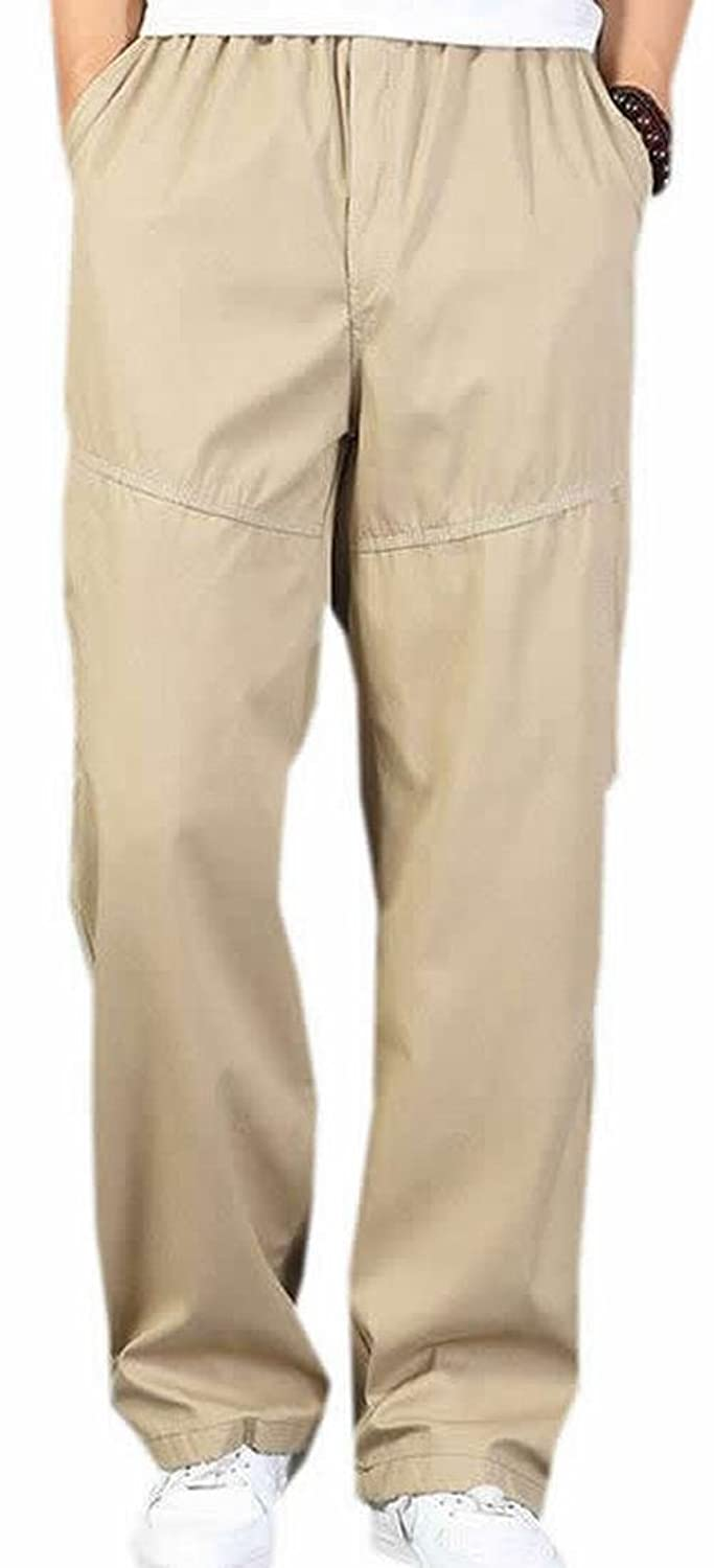 a5ae7cd45a4 ARRIVE GUIDE Mens Casual Pockets Elastic Waist Plus-size Pants well-wreapped