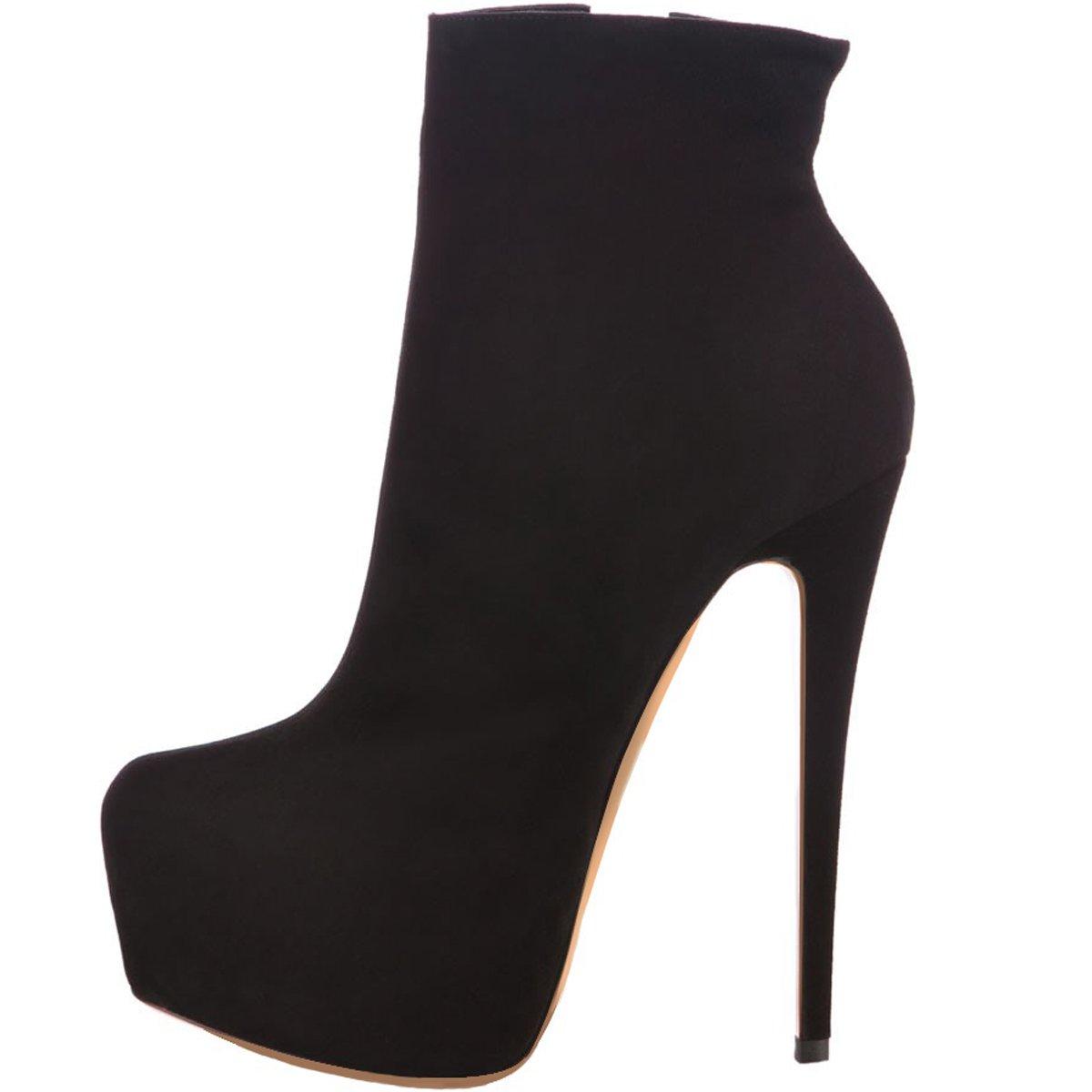 ELASHE Ankle Boots | 15cmTrendige Damen Stiefeletten | Plateau Stiefel mit Absatz35 EU|Schwarz