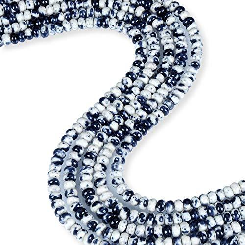 Black & White Rain Jasper Faceted Round Shape 6mm Rondelle Beads 15-16