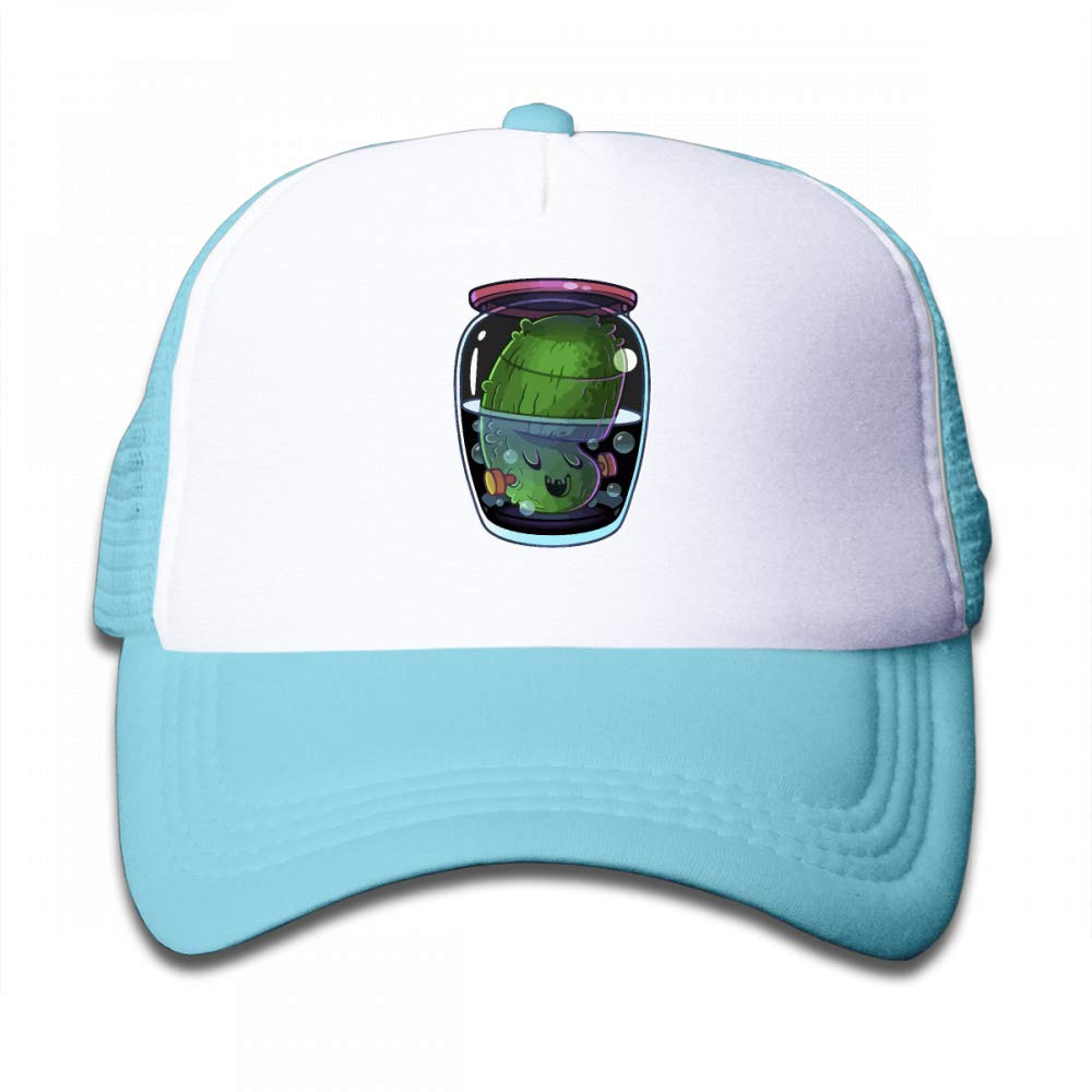 NO4LRM Kid's Boys Girls Glass Jars of Pickles Youth Mesh Baseball Cap Summer Adjustable Trucker Hat