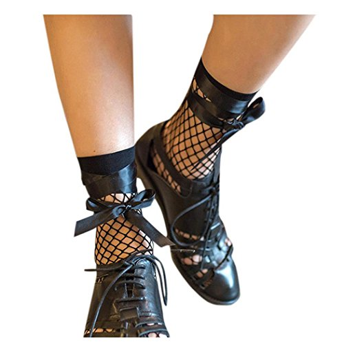 Women Fishnet Socks Inkach Ladies Girls Ruffle Fishnet Ankle High Socks Mesh Lace Fish Net Short Socks