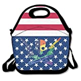 Skull Skeleton Gun Rainbow Flag Multifunctional Lunch Tote Bag Carry Box