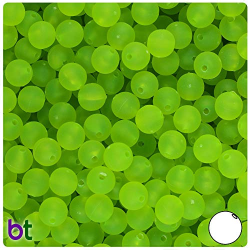 BeadTin Lime Roe Frosted 8mm Round Craft Beads (300pcs)