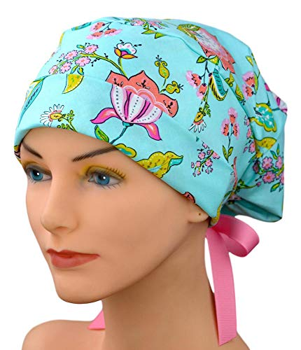Womens Surgical Scrub Hat Adjustable Medium to Large with Ribbon Ties (Chic)