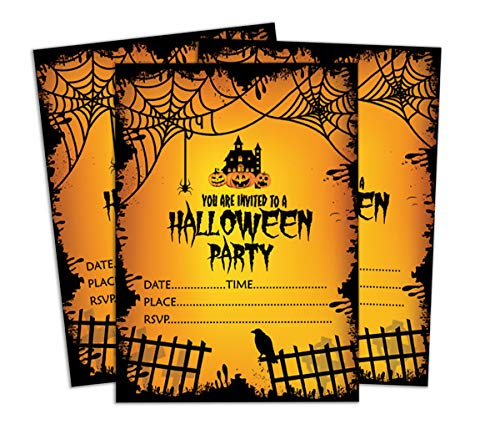 Darling Souvenir Yellow Halloween Invitation Card Printable Fill or Write in Blank Invites Party Supplies Pack of 28 -