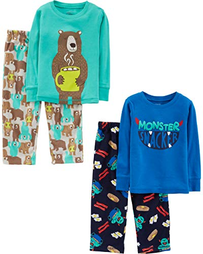 Simple Joys by Carter's Boys' Toddler 4-Piece Pajama Set, Monster/Bear, 5T