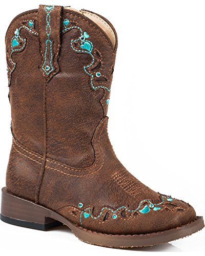 Roper Hearts Square Toe Cowgirl Boot (Toddler/Little Kid), Brown, 5 M US -