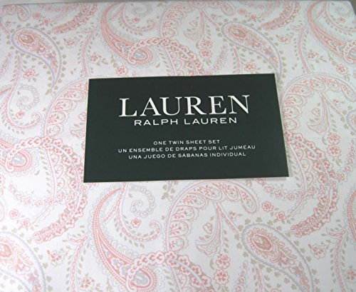 Lauren 3 Piece Twin Size Paisley Floral Sheet Set Pink and White 100% Cotton