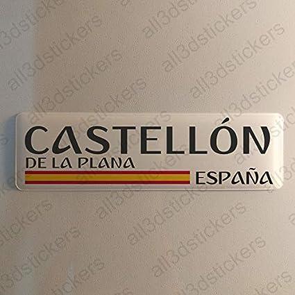 Pegatina Castellon de la Plana España Resina, Pegatina Relieve 3D Bandera Castellon de la Plana España 120x30mm Adhesivo Vinilo: Amazon.es: Coche y moto