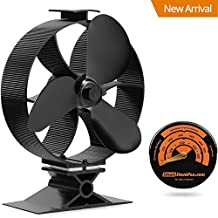 2017 New Heat Powered Stove Top Fan Wood Stove Fan with Gift Stove Thermometer