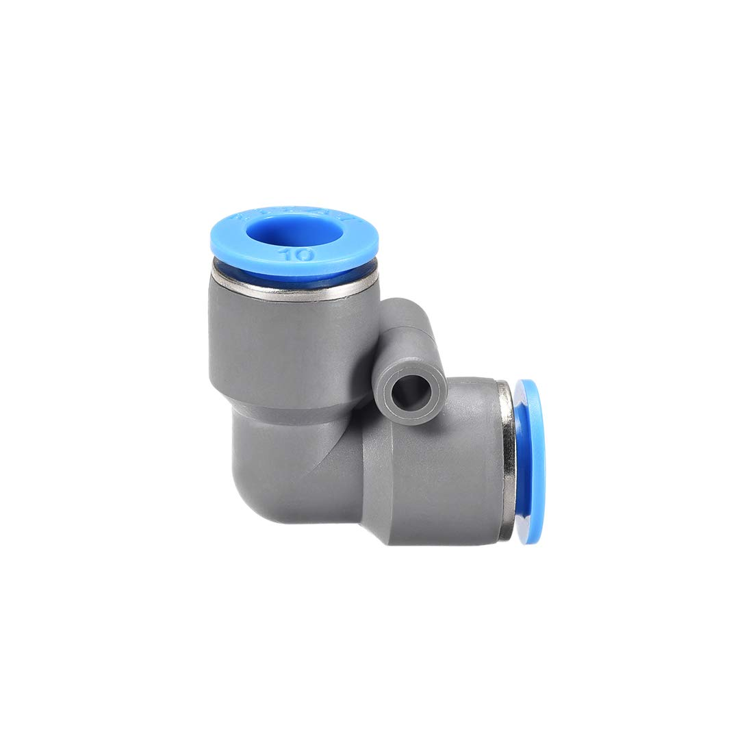 uxcell Elbow Push to Connect Air Fittings 10mm Tube OD Pneumatic Quick Release Connectors Grey 2Pcs
