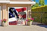 Outdoor Patriotic American Holiday Garage Door Banner Cover Mural Décoration - USA Military Brave and Free Patriotic Garage Door Banner Décor Sign 8' x 9'