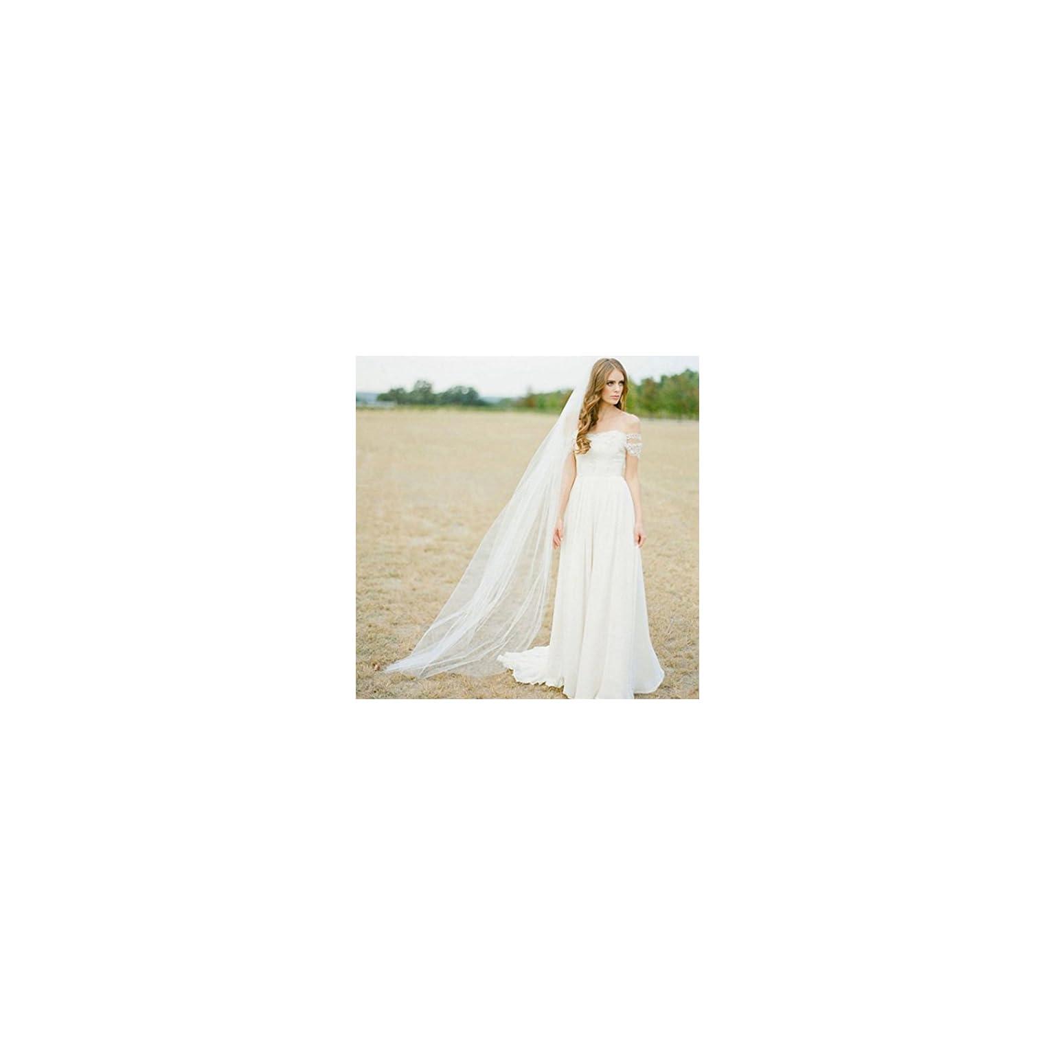 118W-118L,Ivory 118 Inches Barogirl Wedding Veil Comb Bridal Cathedral Veil 1 Tier Drop Veil Wedding Rhinestones Hair Comb for Brides