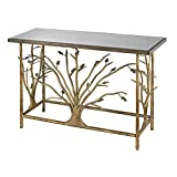 Hamptons Collection Gold Leafed Metal Branch Console Table With Antique Mirrored Top