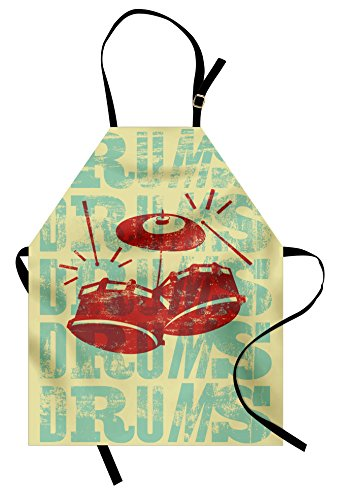 Ambesonne Vintage Apron, Groovy Retro Drumming Poster Design Percussion Rock Music Instrument Play Vibe Hit, Unisex Kitchen Bib with Adjustable Neck for Cooking Gardening, Adult Size, Yellow Red