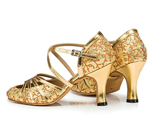 Meijili HW2943, Damen Standard & Latein Gold Heel 7cm