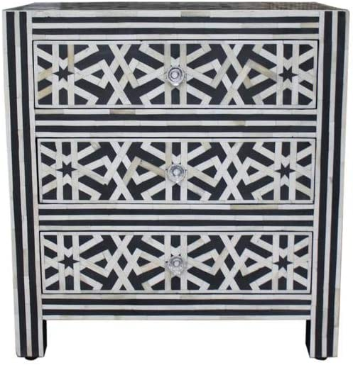 Fairdeal Handmade Geometric Design Black Bone Inlay Chest of 3 Drawer, Entryway Table, Bedroom Wooden Furniture