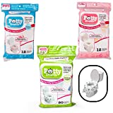 Toilet Seat Covers- Disposable XL Potty Seat Covers, Individually Wrapped by Potty Shields - Extra-Large, No Slip (Floral - 40 Pack): more info