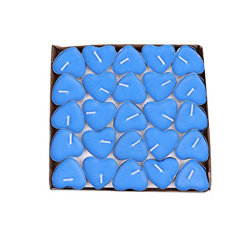 - Hacloser 50Pcs/Box Heart Shape Romance Candles For Birthday Wedding Party Valentine's Day Home Decoration Gift (Blue)