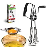 KiTheea Manual Egg Beater - Stainless Steel Kitchen Hand Mixer - Eggs Separator Tool - Hand Beater Whisker - Hand Whisk